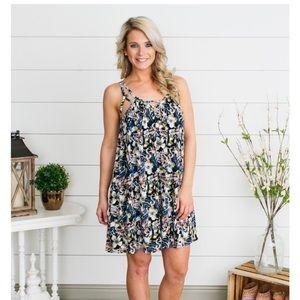 Captivating floral cutout dress-navy